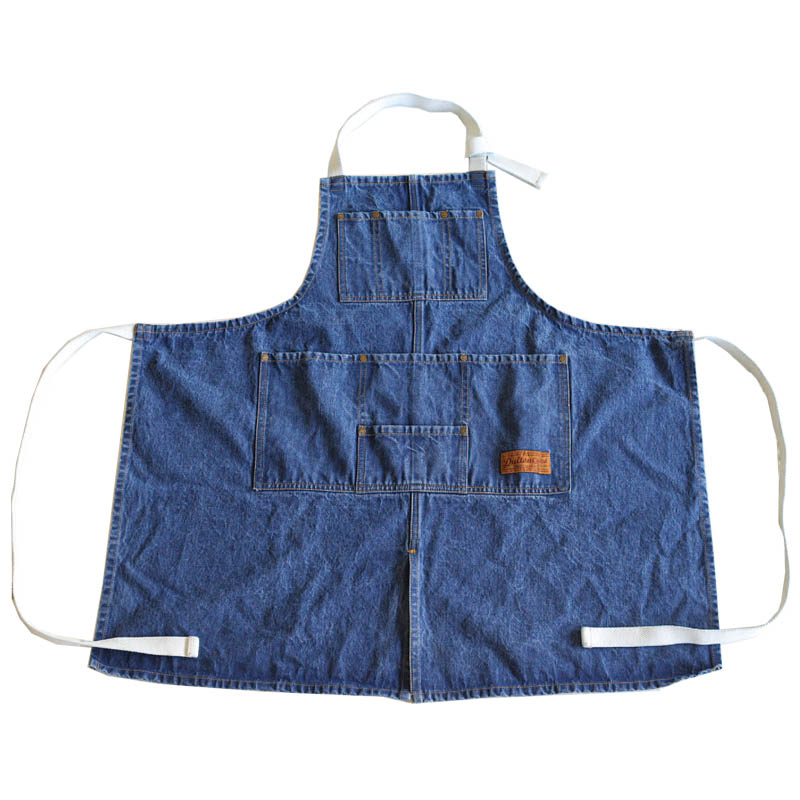 ''MW'' WORK APRON WASHED DENIM