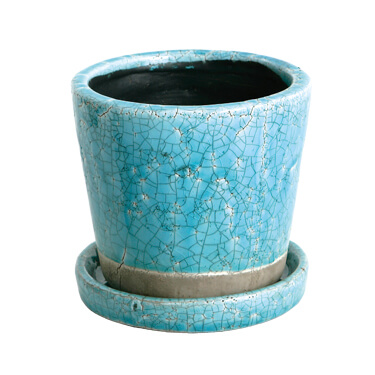 COLOR GLAZED POT TURQUOISE