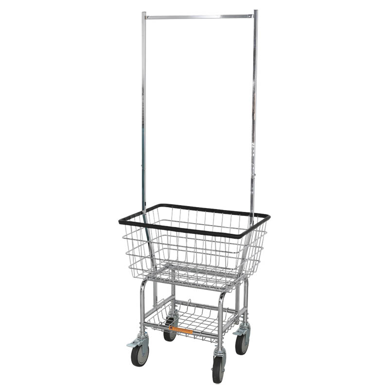 LAUNDRY CART WITH POLE RACK CHROME