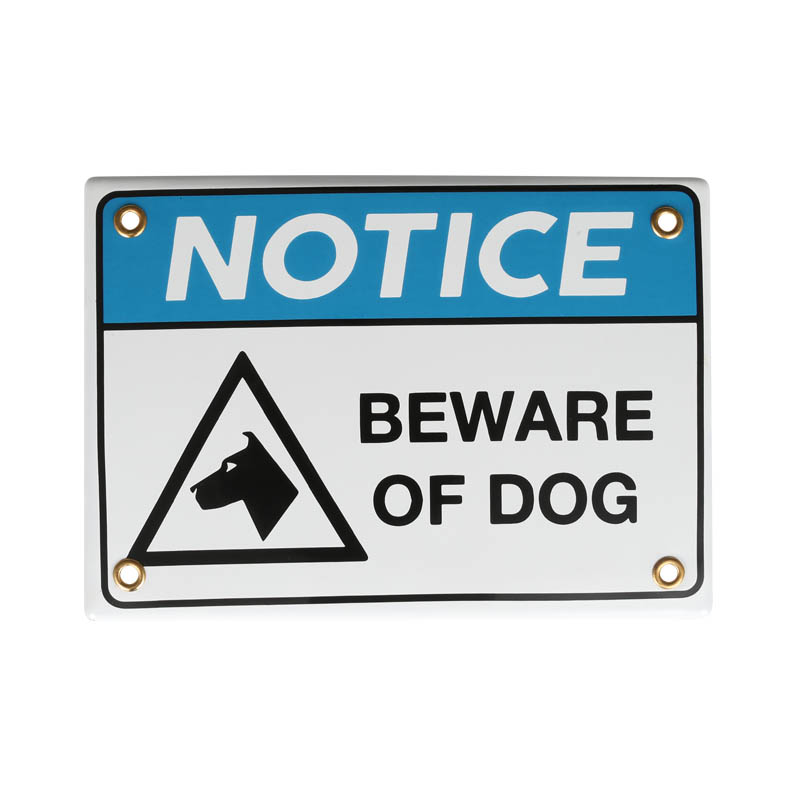 ENAMELED NOTICE SIGN BEWARE OF DOG