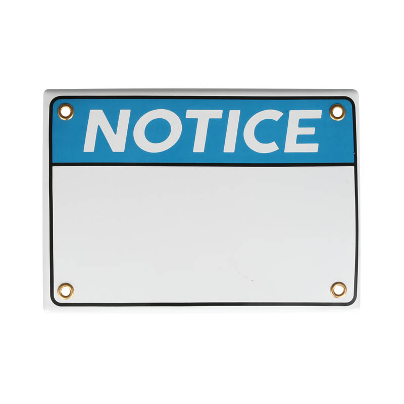 ENAMELED NOTICE SIGN BLANK