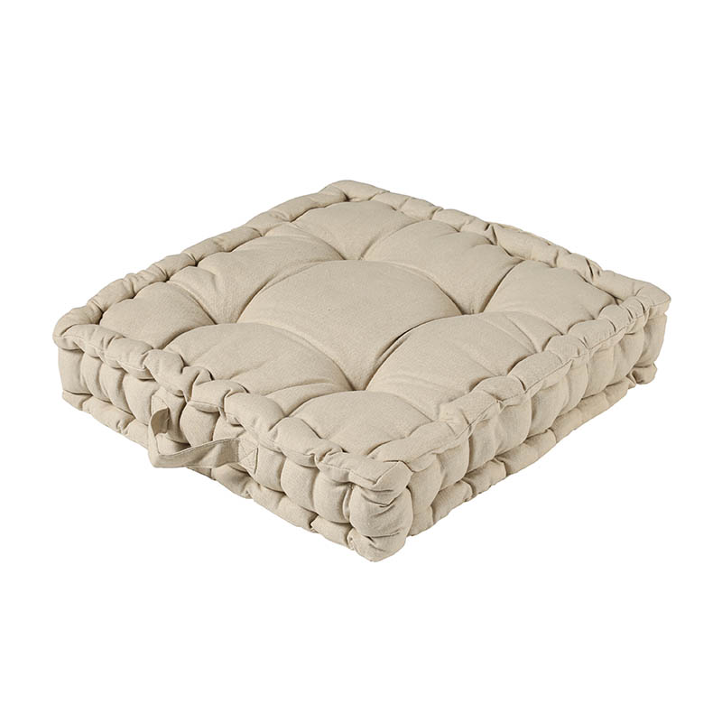 WASHED COTTON SQ BOX CUSHION BEIGE